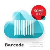 Código de barras com nuvem, molde do vetor Fotografia de Stock