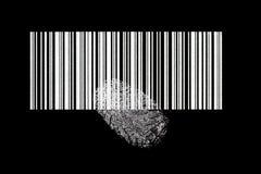 Código de barras con la huella digital Foto de archivo