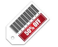 Código de barras con la venta el 50% de la etiqueta engomada Foto de archivo libre de regalías