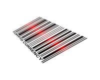 Código de barras Crypto del laser de la moneda Imágenes de archivo libres de regalías