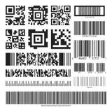 Código de barras e grupo de código de QR imagem de stock