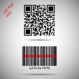 Código de barras e código de QR isolado Vector a matriz do código de barras para seguir a informações sobre o produto, a identifi ilustração royalty free