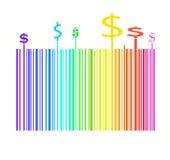 Código de barras en colores del arco iris con la muestra del dinero del dólar Imagen de archivo