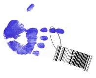Código de barras que pendura da mão fotografia de stock royalty free