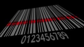 Código de barras de varredura no fundo preto, linha vermelha de varredor que corre nas linhas video estoque