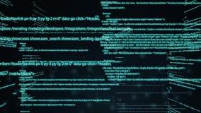 Código de computador que corre em um espaço virtual a câmera move-se através do texto Código de programação da tecnologia abstrat video estoque