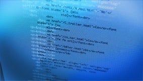 Código de dados que datilografa no painel LCD 4K filme