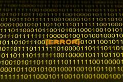 Código de error Fotografía de archivo libre de regalías