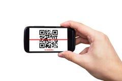 Código de la exploración QR de Smartphone fotografía de archivo libre de regalías