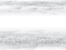 Código de ordenador binario abstracto Tecnología digital de alta tecnología en un fondo gris ilustración del vector
