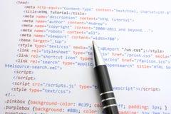 Código de programação do HTML imagens de stock