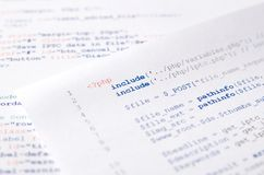 Código de programação do programador web impresso em um pedaço de papel Fotos de Stock Royalty Free