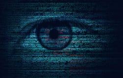 Código de programa del web con el ojo humano - fondo del concepto