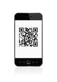 Código de Qr en el teléfono elegante Imagenes de archivo