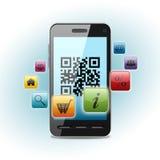 Código de Qr en la pantalla del smartphone ilustración del vector