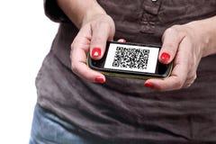 Código de Qr en smartphone imagen de archivo