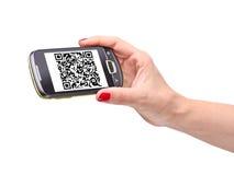 Código de Qr no smartphone Imagem de Stock Royalty Free