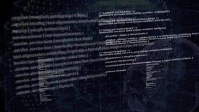 Código de red programado en fondo de pantalla negro almacen de video