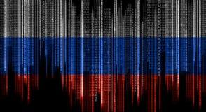 Código de sistema binario en colores de la bandera rusa imágenes de archivo libres de regalías