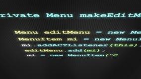 Código de software verde que datilografa para fora na tela V2 filme
