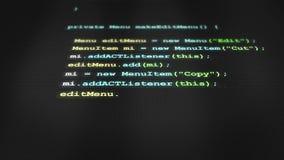 Código de software verde que datilografa para fora na tela V3 filme