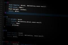 Código del diseño de Web del código Css3 Imágenes de archivo libres de regalías