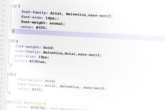 Código del diseño de Web del código Css3 Imagen de archivo libre de regalías