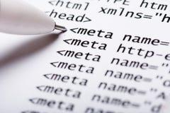 Código del HTML foto de archivo libre de regalías