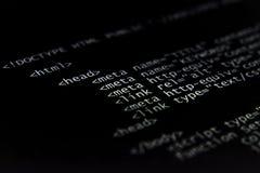 Código del HTML del Internet Imagen de archivo libre de regalías