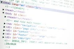 Código del HTML del Web site fotos de archivo
