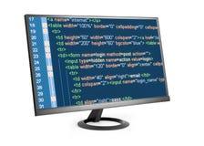 Código del HTML en el monitor de computadora Imagen de archivo