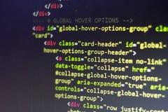 Código del HTML Código fuente de la programación informática Pantalla abstracta del desarrollador de web Fondo moderno de la tecn Foto de archivo