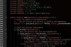 Código del Javascript del Web page en monitor del ordenador imagenes de archivo