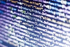Código del Javascript Código fuente de la programación informática Pantalla abstracta del desarrollador de web con código que bri Foto de archivo