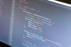 Código del Javascript Código fuente de la programación informática Pantalla abstracta del desarrollador de web Fondo moderno de l Foto de archivo