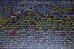 Código del Javascript HTML5 del desarrollo web Fondo moderno abstracto de la tecnología de la información El cortar de la red Foto de archivo