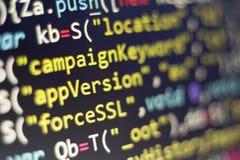 Código del Javascript HTML5 del desarrollo web Fondo moderno abstracto de la tecnología de la información El cortar de la red Foto de archivo libre de regalías