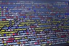 Código del Javascript HTML5 del desarrollo web Fondo moderno abstracto de la tecnología de la información El cortar de la red fotos de archivo