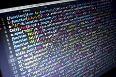 Código del Javascript HTML5 del desarrollo web Fondo moderno abstracto de la tecnología de la información El cortar de la red fotos de archivo libres de regalías