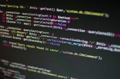 Código del PHP CSS en ordenador foto de archivo libre de regalías