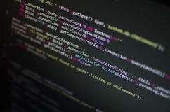 Código del PHP CSS en ordenador Foto de archivo