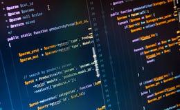 Código del PHP en fondo azul en editor de código fotografía de archivo libre de regalías