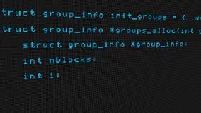 Código del pirata informático que corre abajo de un terminal de pantalla de ordenador almacen de metraje de vídeo