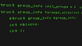 Código del pirata informático que corre abajo de un terminal de pantalla de ordenador stock de ilustración