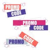 Código del promo, código de la cupón Ejemplo plano del diseño determinado del vector en el fondo blanco ilustración del vector