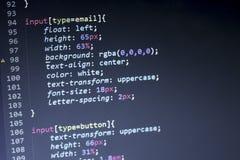 Código del stylesheet del CSS Pantalla del extracto del código fuente de la programación informática del desarrollador de web Fon Imagen de archivo