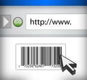 Código del UPC en un hojeador con el cursor ilustración del vector
