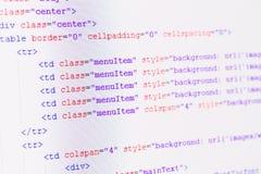 Código del web del HTML Imágenes de archivo libres de regalías