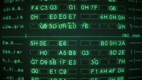 Código digital verde na tela do monitor do CRT do vintage ilustração do vetor
