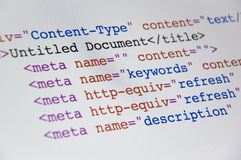 Código do HTML Fotografia de Stock